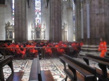 Ich bin mitten in einem Gottesdienst für die fleißigen Mitarbeiter des Croce Bianca gelandet.