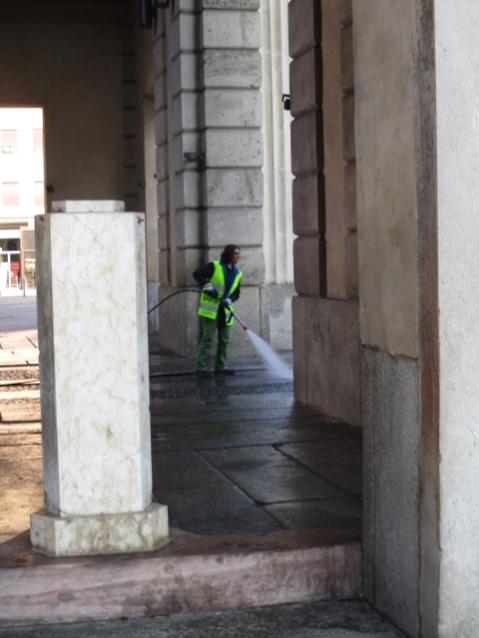 Hier wird die Porta gerade mit viel Druck sauber gemacht