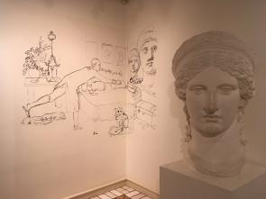 Zeichnungen von ihm an der Wand